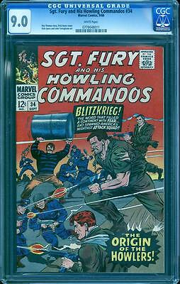 Sgt. Fury 34 in CGC 9.0, white pages, perfect cover centering