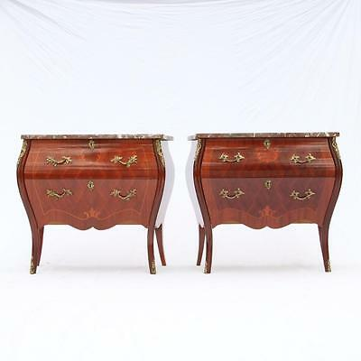Pair of Marble Top Bombay Side Chests Tables, Inlay, Brass Mounts Vintage 1950s