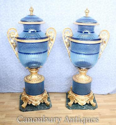 Pair Large Louis XV Blue Cut Glass Vases Urns on Stands