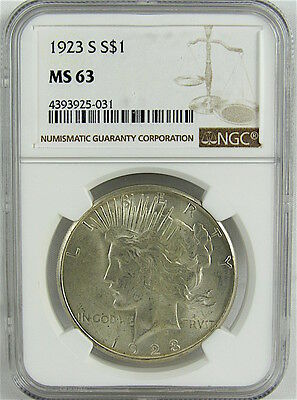 1923-S Peace Silver Dollar Ngc Ms63