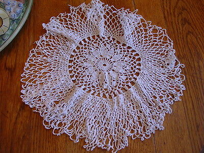Antique Crocheted 17-Inch Wide Round Doily~Ivory Color~Sweet and Well Made