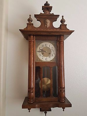 Antique Large Old German Made Wooden Wall Clock