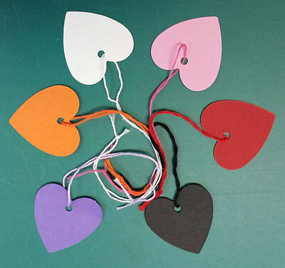 Heart Shaped Kraft Strung String Tags Swing Price Ticket Jewellery Tie On Labels