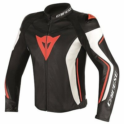 Dainese Assen black white red fluo, leather motorcycle jacket, NEW!