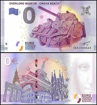 Zero (0) Euro Europe,2017 - 1 (1st Print),UNC,Overlord Museum-Omaha Beach,France
