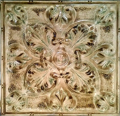"Antique Decorative Tin Ceiling Tile Hand Hammered Vintage Metal 24"" x 24"""