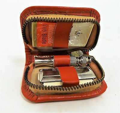 Vintage Gillette Mini Travel Safety Razor in German Leather Case, Unused, New