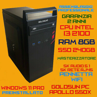 COMPUTER ASSEMBLATO PC FISSO DESKTOP INTEL Core i3-550 RAM 4GB HDD 500GB DVD-RW