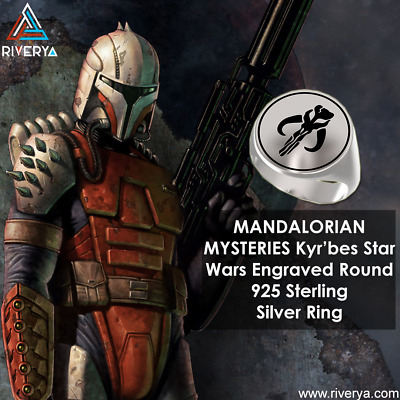 MANDALORIAN MYSTERIES Kyr'bes Star Wars Engraved Round 925 Sterling Silver Ring