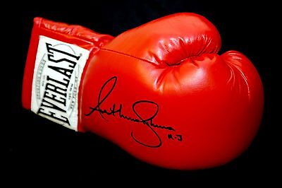 New Anthony Joshua Hand Signed Red Everlast Autograph Boxing Glove. Inscribed AJ