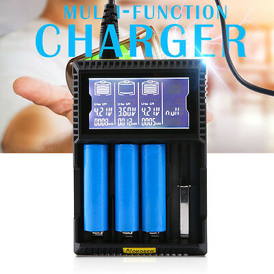 LCD Intelligent Ni-MH/Li-ion Battery Charger for Li-ion 18350 18490 18650 4 Slot