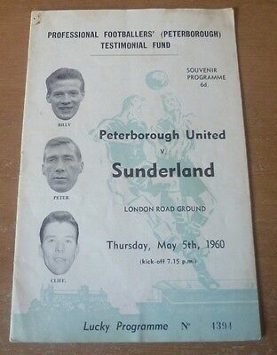 Peterborough United v Sunderland, 1959/60 - Testimonial Match Programme