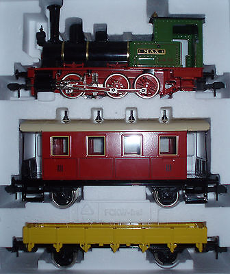 Marklin 1:32 MAXI Metal MAX 01 Tank Locomotive + Coach + Low Side Car from 5440