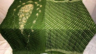 Cream Green Pure Silk 4 yard Vintage Sari Saree Discount on sale Casual #EKB6T