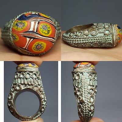 Old Wonderful Mosaic Glass Rare Unique Ring   # v