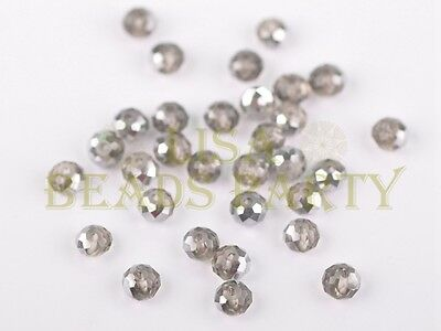 50pcs 4x6mm Faceted Rondelle Crystal Glass Loose Bead Half Silver Half Lt Brown