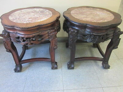 Pair antique Chinese Rosewood and marble tables