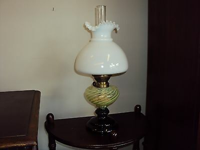 Antique Vaseline Glass Hurricane Oil Lamp with a Milk Glass Shade