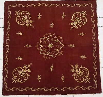 ANTIQUE TURKISH OTTOMAN GOLD-EMBROIDERED BURGUNDY  VELVET  19th c.