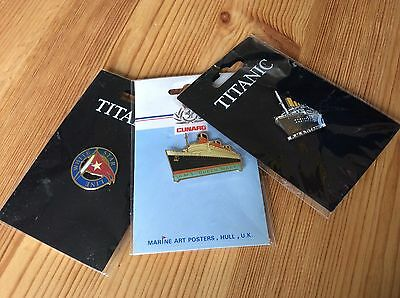 Collection Of Badges, White Star Line, Titanic, Cunard, Queen Mary.