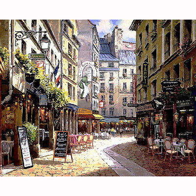 Canvas Printing Oil Painting of Town under the sunshine