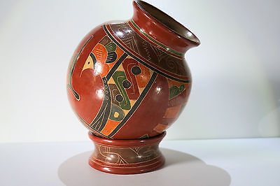 """Hand Made, Painted Nicaragua South American 9.5"""" Pottery Urn Pot Vase with Base"""