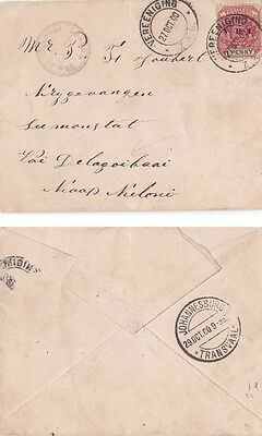 SOUTH AFRICA-Boer War 1900 Cover f.w.1 penny optd V.R.I. adh.  {See Description}