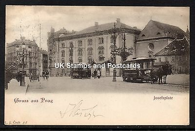 1899 Posted Card Josefsplatz Vienna(?) Austria With Horse Drawn & Electric Trams