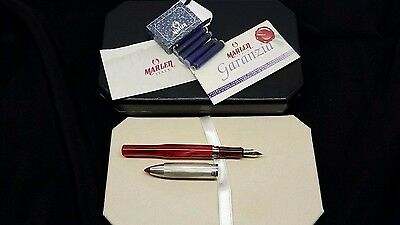 Marlen Shuttle Red With Silver Cap Fountain Pen 18Kt Gold M Nib  - New In Box