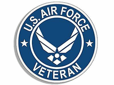 4x4 inch Round US AIR FORCE VETERAN Sticker - usaf military troops vet i served