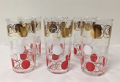 VTG Federal Glass Company Set of 6, Atomic, Polka Dot, Red, White & Gold, 4 3/4""