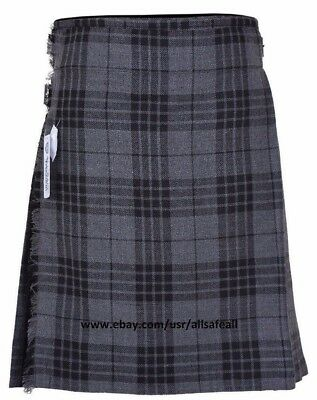 Grey Men's 5 Yard 13 Oz Casual Wear, Light Weight, Scottish Tartan Kilt