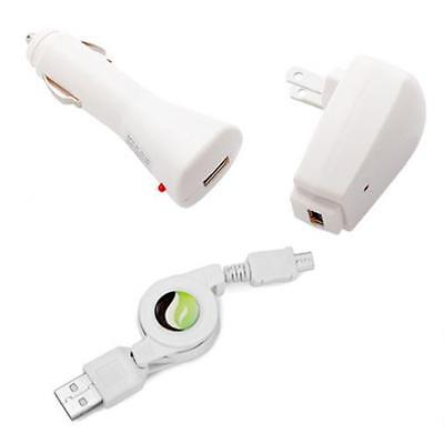 3-IN-1 HOME AC CAR DC CHARGER RETRACTABLE USB CABLE [WHITE] for PHONES & TABLETS