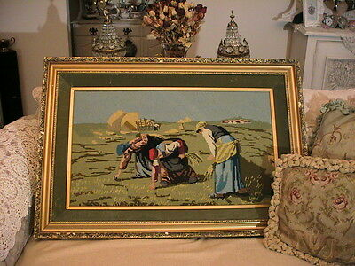 Divine Vintage Antique Tapestry Ladies Working In The Field Ornate Gold Frame