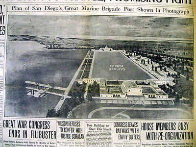 Best 1919 display newspaper US Marine Corps Recruit Depot San Diego CALIFORNIA