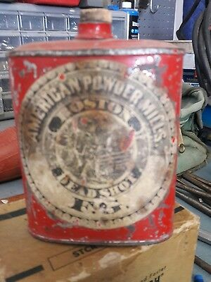 Vintage Dead Shot Sporting Gun Powder Tin Can Flask Container with original cork