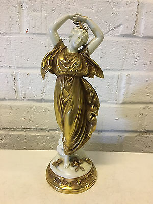 Antique German Volkstedt Gold Gilt & White Porcelain Figurine of Woman