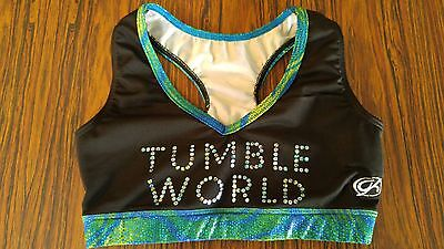 GK ELITE costume dance gymnastics tumble world black bra top AL SIZE ADULT LARGE
