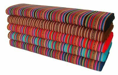 Aguayo Ethnic Fabric Cotton Peru Striped Colorful Per Yard Manta Artisan Woven