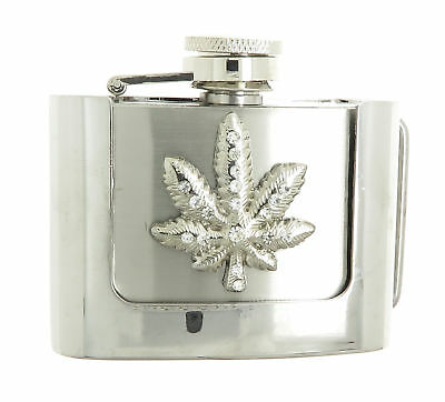 Rhinestone Marijuana Leaf 2 oz Stainless Steel Flask Belt Buckle