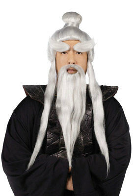 Brand New Ninja Kung Fu Sensei Costume Wig, Beard and Brows Set