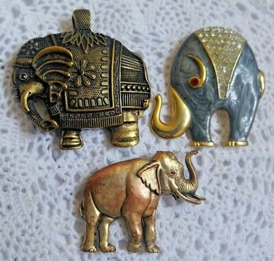 Vintage ELEPHANT Realistic detailed Silver Tone and Pink Pin Brooch