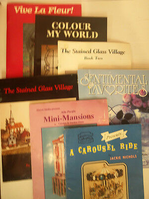 Lot Of 7 Stained Glass Pattern Books Window Shopping Valee Studios Hixson