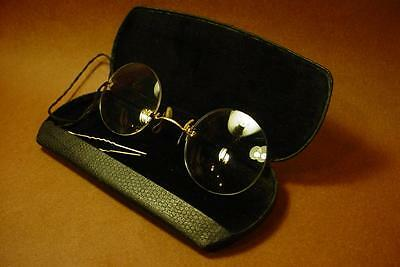 Vintage Antique Pince Nez Shuron Wire Rim Eye Glasses With Hairpin & Case