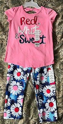 NWT Jumping Beans Girls 2 Piece Top And Capri Legging Set Size 5