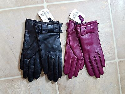 NWT Danier genuine Leather gloves bow - 2 pairs lot - Black and magenta XS