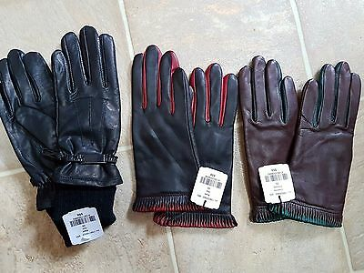 NWT Danier genuine Leather gloves - 3 pairs lot - Black & red,  brown & green XS