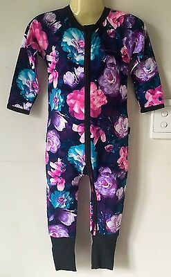 Size 0 Baby Girls Bonds Zippy Wondersuit GYPSET BLOOMS Black BNWT
