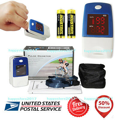 LED US Stock CMS50L+Batterie Finger Pulse Oximeter Blood Oxygen SpO2 PR Monitor
