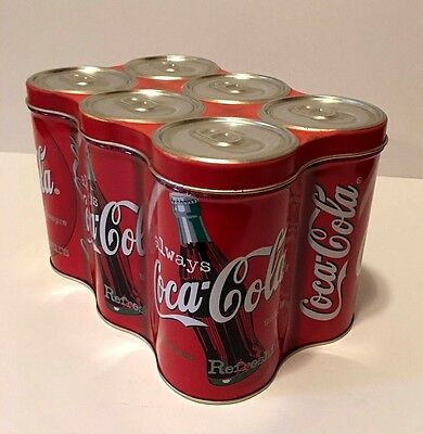 1998 Collectible Coca Cola Tin Storage Six Pack Coke Cans With lid